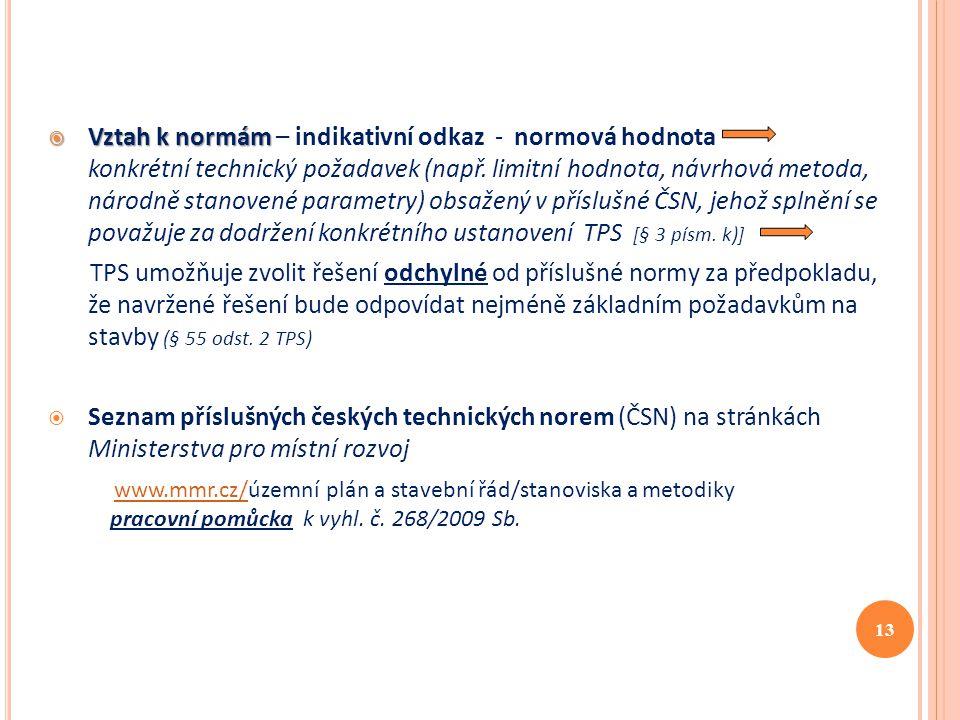 Vztah k normám – indikativní odkaz - normová hodnota konkrétní technický požadavek (např. limitní hodnota, návrhová metoda, národně stanovené parametry) obsažený v příslušné ČSN, jehož splnění se považuje za dodržení konkrétního ustanovení TPS [§ 3 písm. k)]